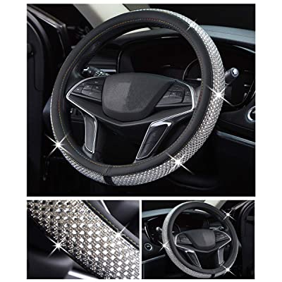 DailyWise VicPlus Bling Bling Diamond Car Steering Wheel Cover Rhinestone Covers Universal Fit 14.5 Inch / 15 Inch (37-38 cm) Car Accessories Interior Shining Decorating New White: Automotive