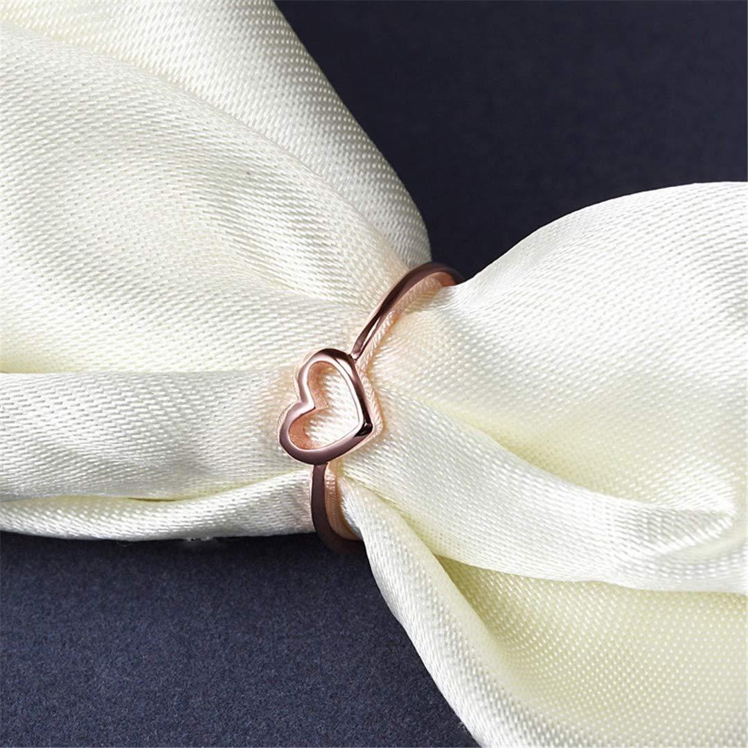Amazon Com Quaqui Rose Gold Color Heart Shaped Wedding Ring For