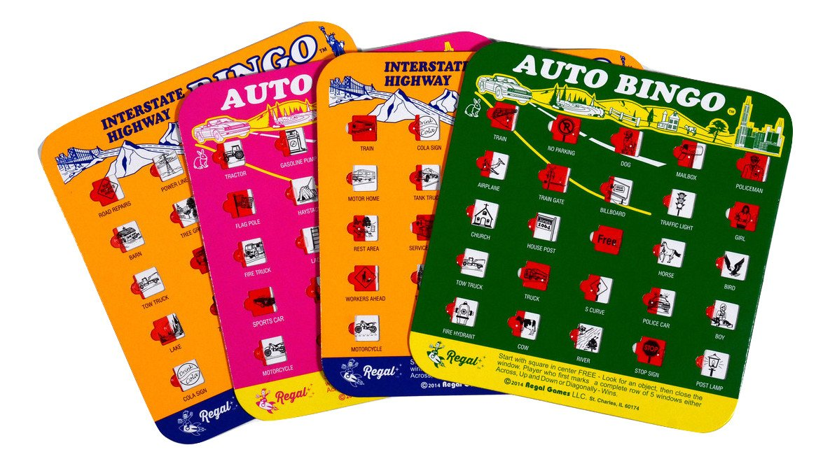 Regal Games Original Travel Bingo 4 Packs Great for Family Vacations Car Rides and Road Trips …