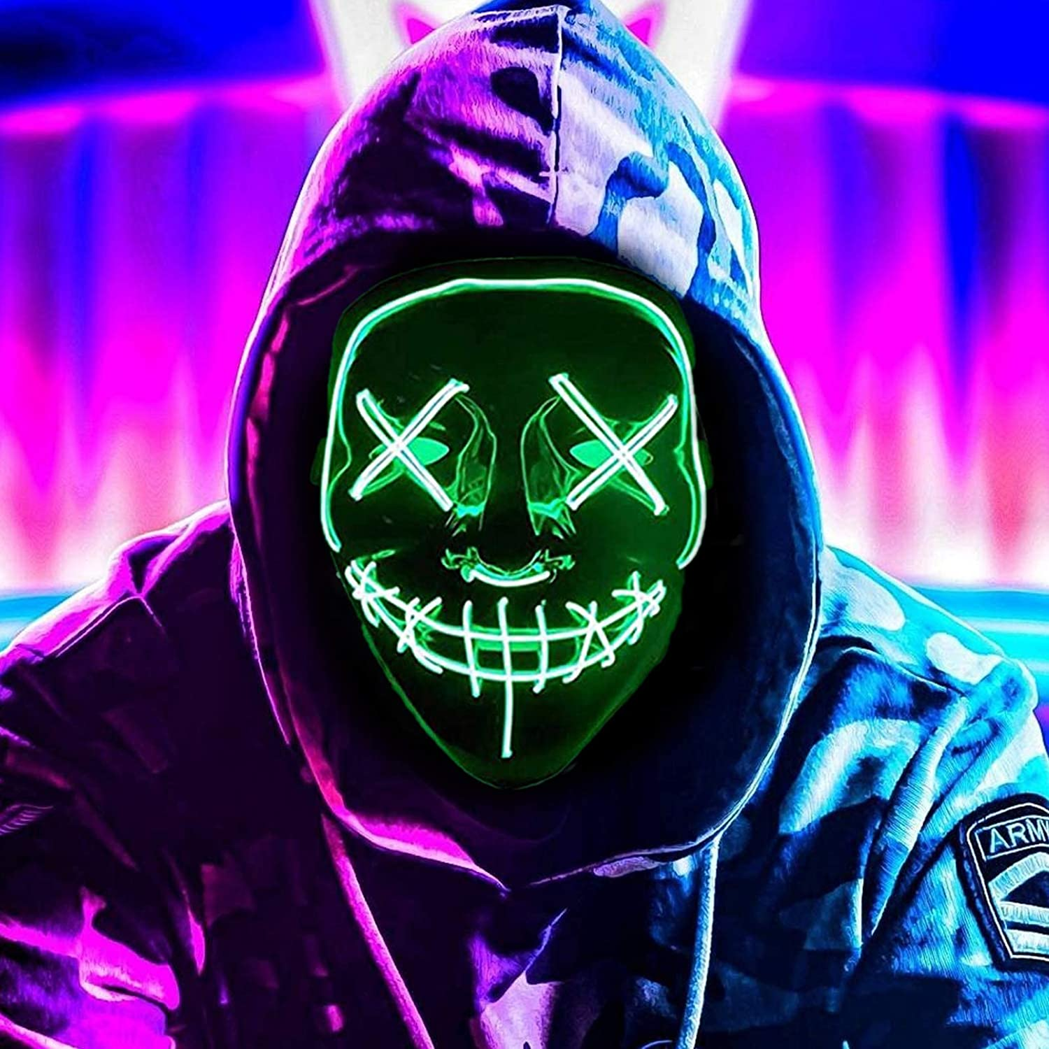 Twinkling with Music Speed Sound Induction Scary Light up Mask for Festival Party Cosplay LED Mask Halloween Purge Mask