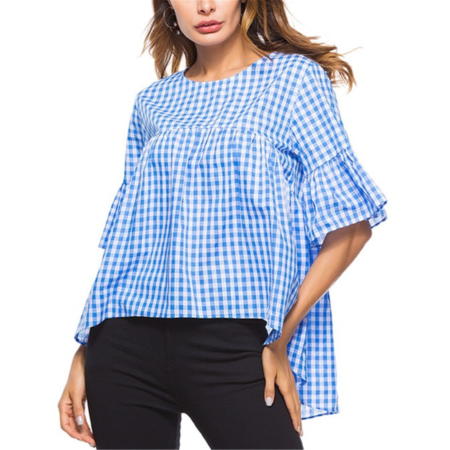 Beverly Stewart Casual Loose Plaid Blouse Spring Summer 2018 New Arrival Flare Half Sleeve Women Tops Asymmetrical Ruffle Womens Blouses Shirts Blue S at ...