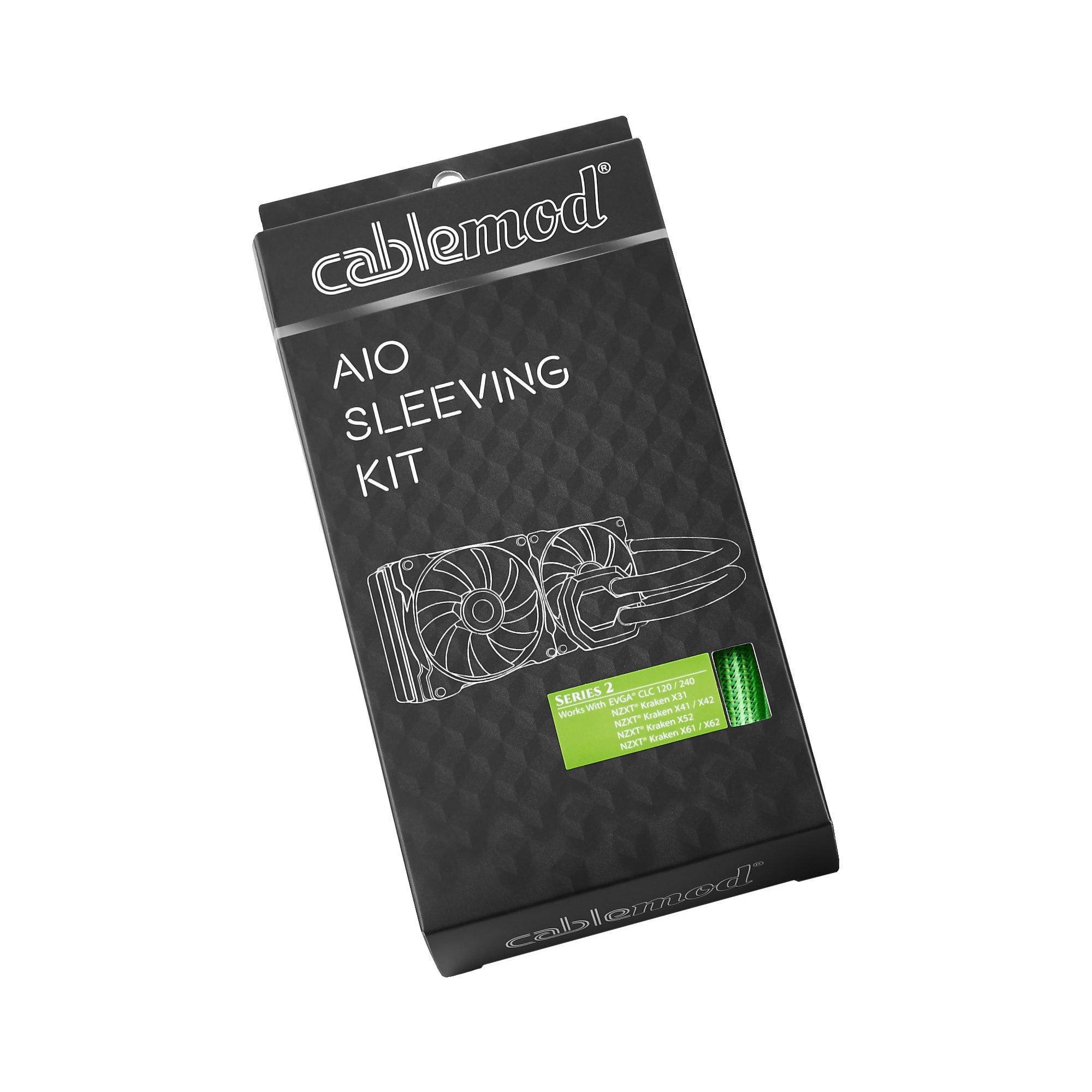 CABLEMOD AIO SLEEVING KIT SERIES 2 FOR NZXT KRAKEN / CORSAIR HYDRO PRO / EVGA CLC / EVGA GPU HYBRID (Light Green)