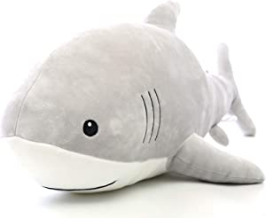 AIXINI Funny Bed Time Stuffed Animal Toys, Cute Soft Plush Shark Sea Animal – Grey (23.6inch) Gifts for Kids Babies Party