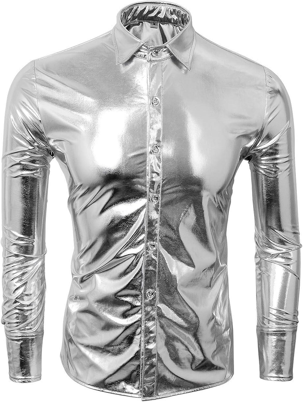 TALLA L. Cusfull Camisa de Hombre Metallic Shirt Nightclub Estilos Manga Larga Botón Abajo Camisas Shiny Slim Fit para Danza Concierto Partido Navidad Partido Cosplay Halloween
