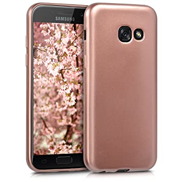 kwmobile Funda para Samsung Galaxy A3 (2017) - Carcasa móvil de Silicona Flexible - Protector Trasero en Oro Rosa Metalizado