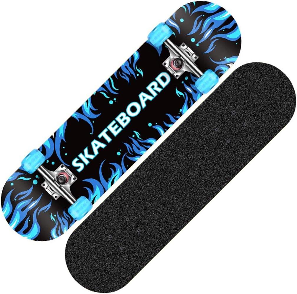 TLMYDD スクーターメイプルロングボードブラシストリートダンスボード四輪ダブルスケートボード初心者ティーンボーイガールプロスケートボード(フラッシュホイール付き) スケートボード (Color : A) A