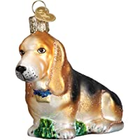 Old World Christmas Ornaments: Basset Hound Glass Blown Ornaments for Christmas Tree