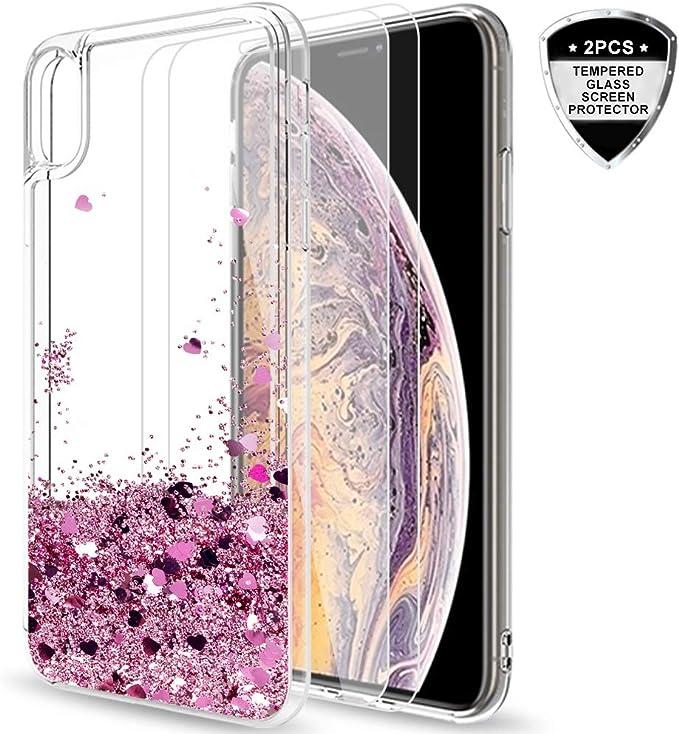 25 opinioni per LeYi Custodia iPhone XS Max Glitter Cover con con Vetro Temperato [2
