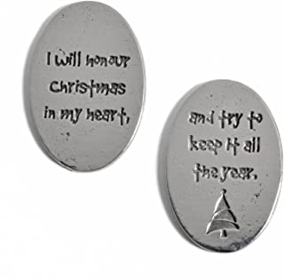 product image for Crosby & Taylor Dickens I Will Honour Christmas Lead-Free American Pewter Sentiment Coins, Set of 6