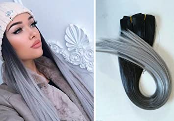 Amazon one piece clip in hair extensions ombre dip dye one piece clip in hair extensions ombre dip dye straight black to silver grey pmusecretfo Image collections