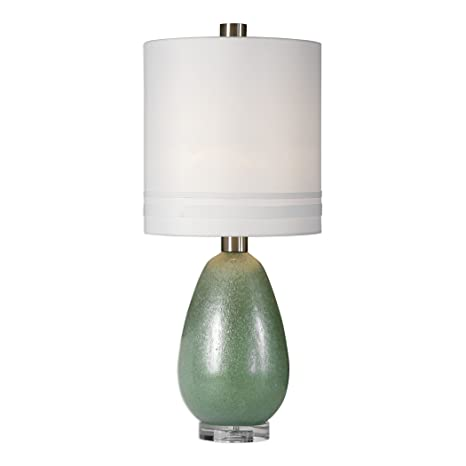 Frosted Green Mid Century Modern Egg Glass Table Lamp Gloss Oval
