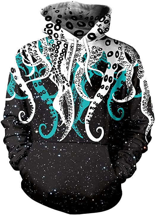 Imagen deMemoryee Moda Unisexo Galaxia Animal 3D Imprimir Capucha con Bolsa de Kangaroo Par de Gran tamaño Sudadera