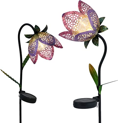 TERESA S COLLECTIONS 27-29.5 inch 2 Pack Metal Solar Flower Lights, Tulip Solar Garden Lights Flower Stake with Crackle Glass Ball Lights for Outdoor Patio Yard Decorations