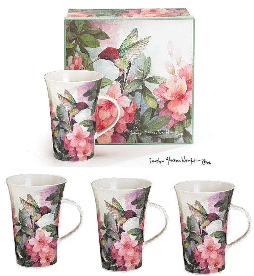 Set Of 4 Hummingbird And Azalea Porcelain Mugs Designed By Artist Carolyn Shores Wright