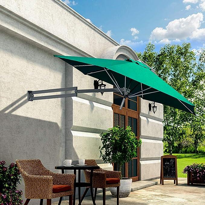 Parasol Montado En La Pared Voladizo Aluminio Led Solar Tela De PoliéSter Plegable TelescóPico Paraguas De RecreacióN Al Aire Libre Patio/JardíN/Terraza LDFZ: Amazon.es: Jardín