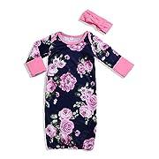Unmega Newborn Baby Girl Boy Floral Sleep Gown + Headband Set (Flower, 90/12-18 Months)
