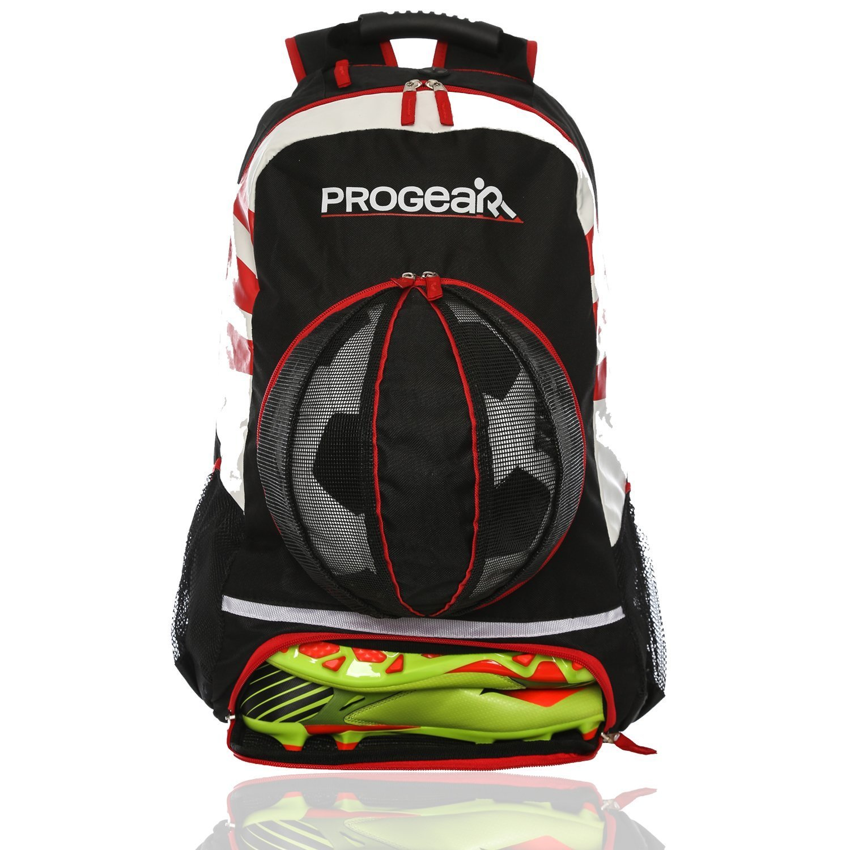 84dd97784414 Black Red   ProGear Soccer Backpack w Ball Pocket – Sports Gym Bag Holds  Shoes
