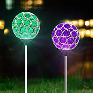 Solar Lights Outdoor Decorative - 2 Pack Magic Crystal Solar Globe Lights Outdoor Solar Powered Light, Color-Changing LED Solar Garden Stake Lights for Patio Backyard Pathway Party, Garden Decor