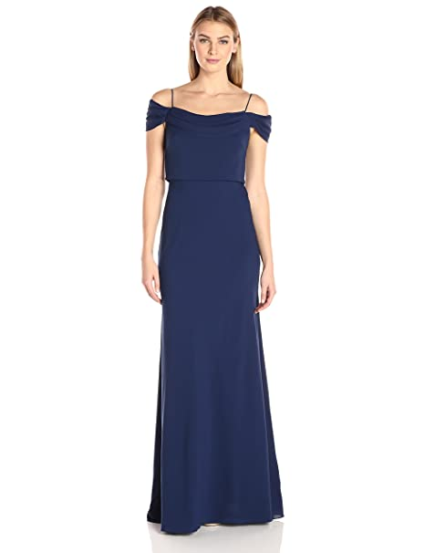4f4ee917d75 Jenny Yoo Womens Sabine Draped Off The Shoulder Crepe Gown  Amazon.ca   Clothing   Accessories