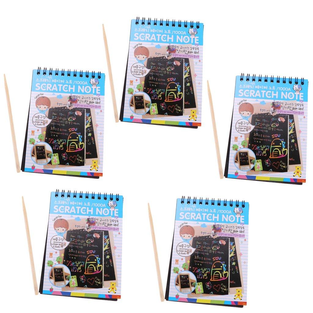 Baosity Scratch Off Colour Rainbow Paper Sketchbooks Art Drawing Notebook Perfect Kids' Gift - 5 PCS - Blue