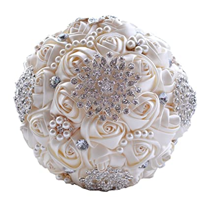 Amazon wedding flowers bridal bouquets elegant pearl bride wedding flowers bridal bouquets elegant pearl bride bridesmaid wedding bouquet crystal sparkle beige junglespirit Images
