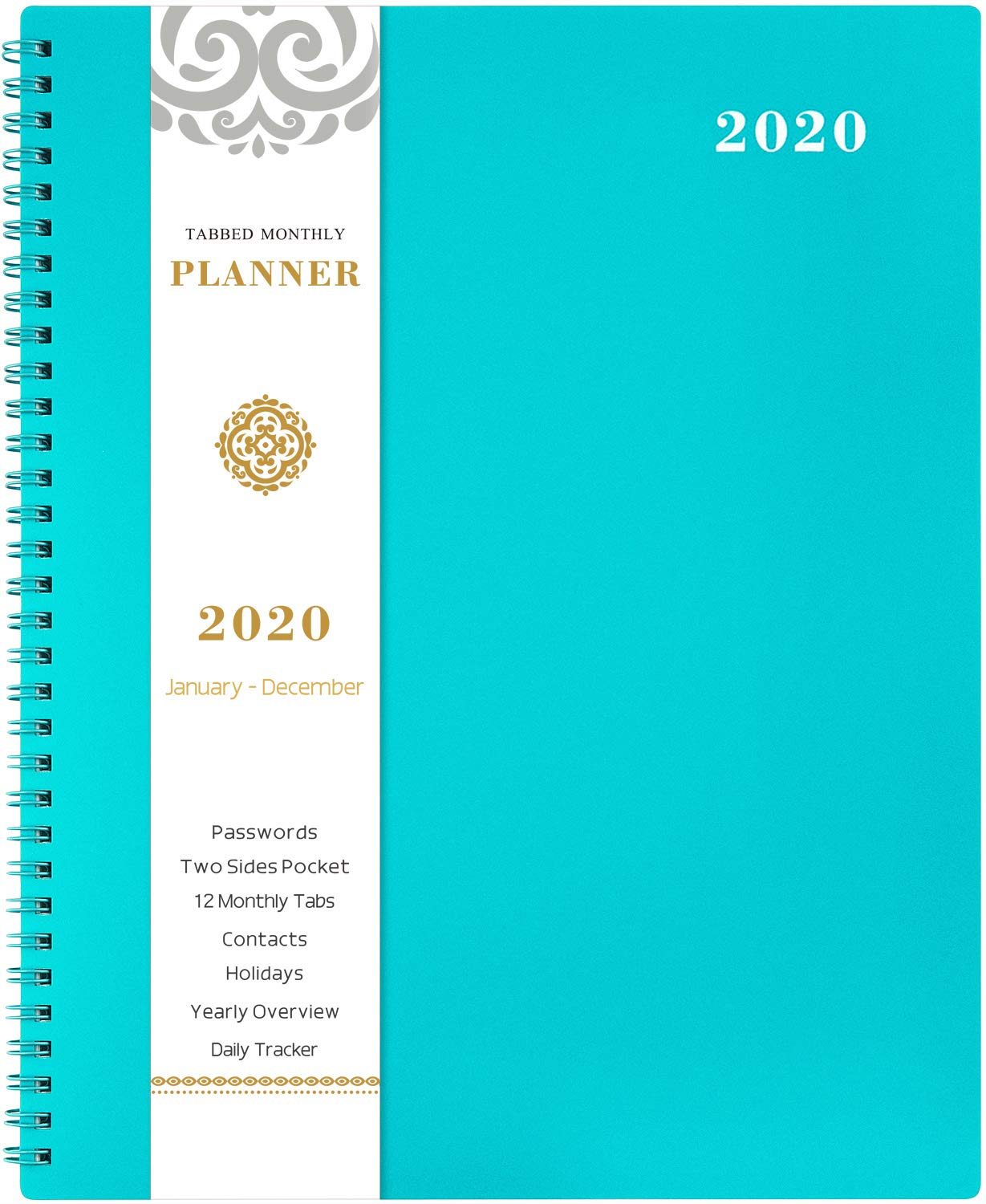 "2020 Monthly Calendar Planner - 12-Month Planner with Tabs & Pocket & Label, Contacts and Passwords, 8.5"" x 11"", Thick Paper, January - December 2020, Twin-Wire Binding - Teal by Artfan"