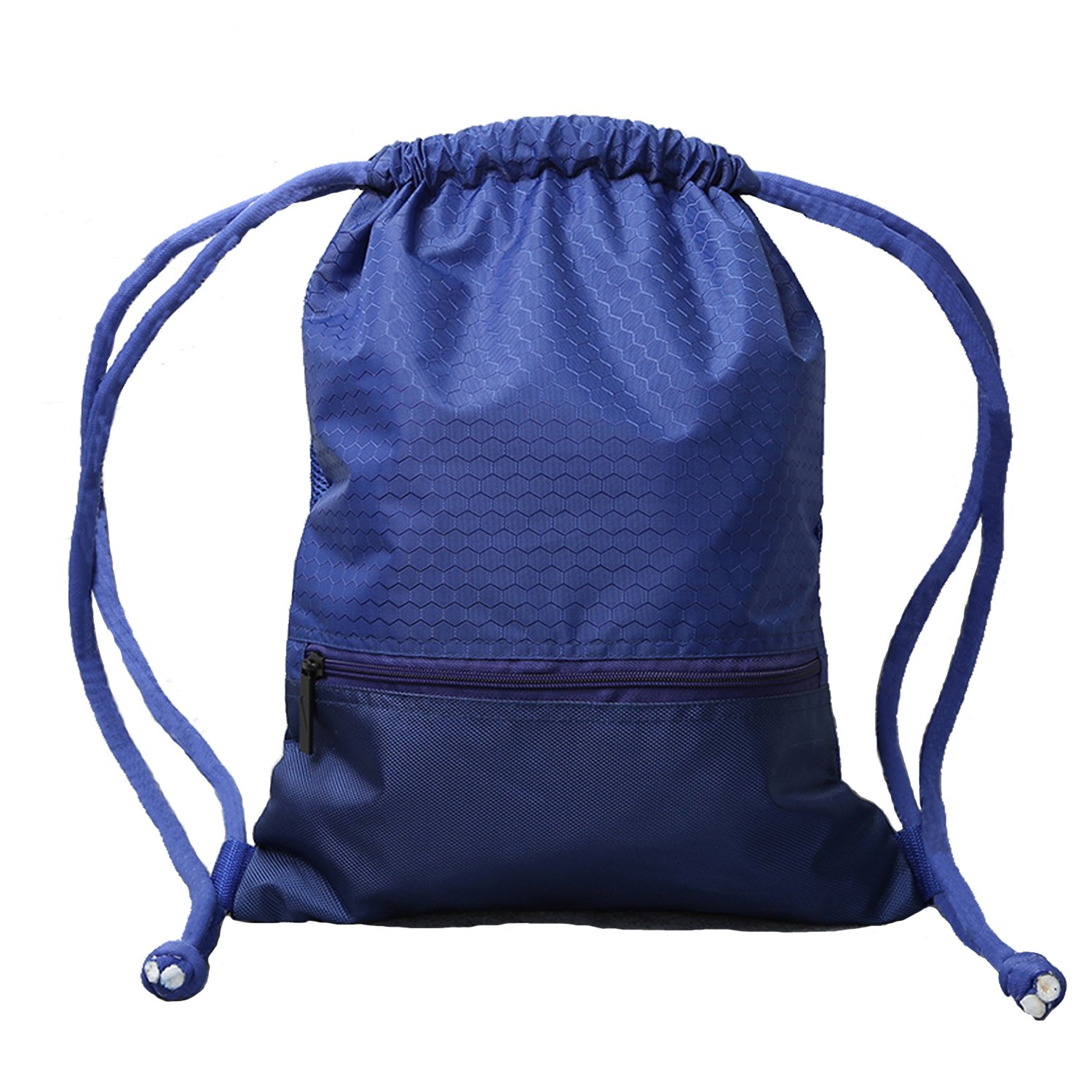 14a41bcbc2dd Double Sturdy Blue Drawstring Bag With Pockets Waterproof | For Gym Sports  & Workout Gear | Large Capacity String Backpack | 8 Colors