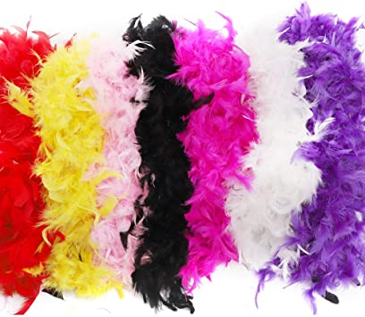 8 Pack Feather BOA Colorful Feather BOA for Costume Party Accessory 8 Different Colors