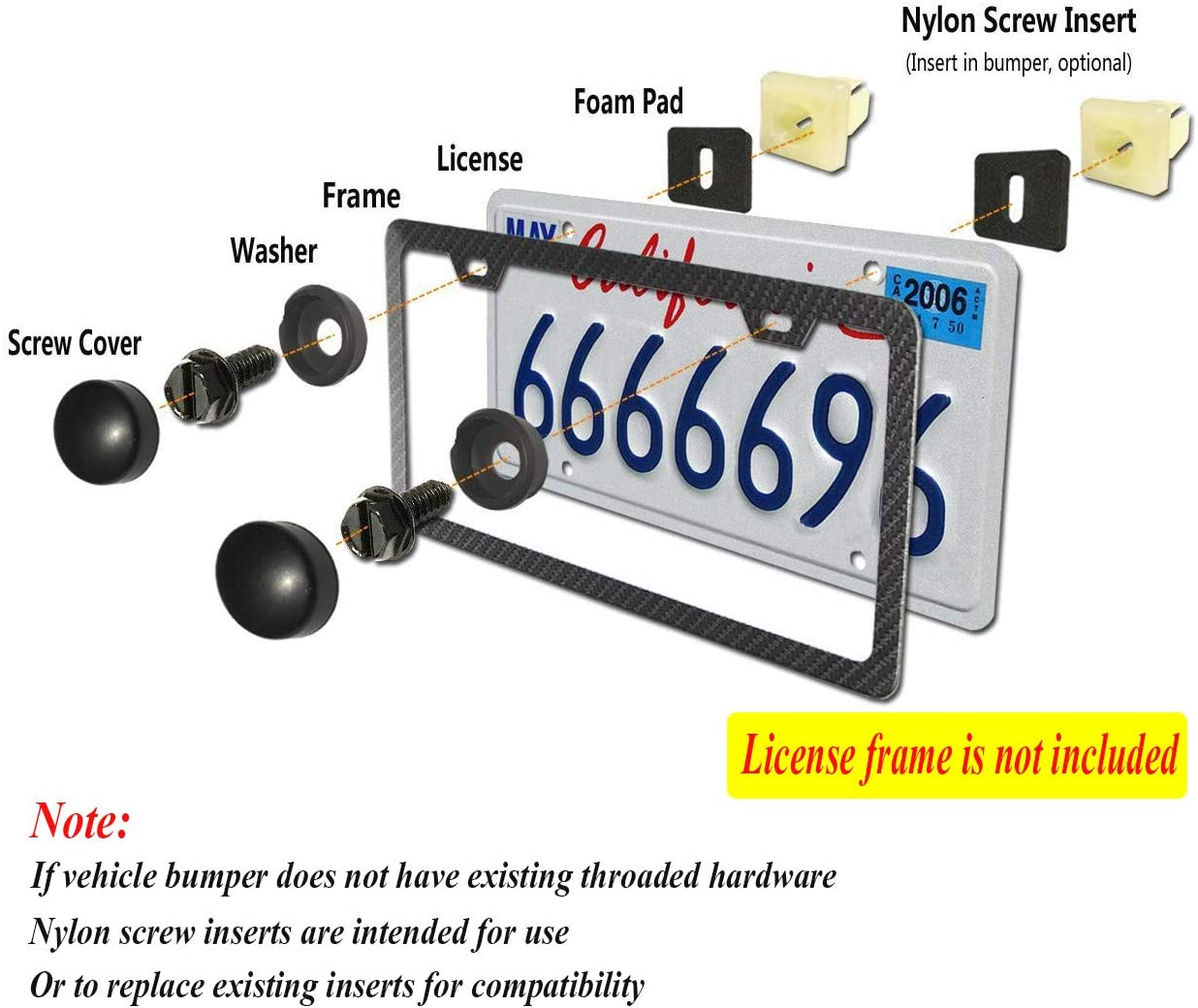 Stainless Steel Screws /& Nylon Screw Inserts /& Black Screw Covers /&Anti-Rattle Pads and Slotted Screwdriver for Fastening License Plates Frames and Covers QUNQI STAR License Plate Screws Sets