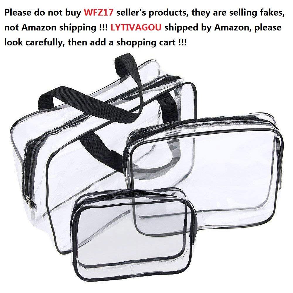Conjunto de 3 piezas de neceseres transparentes de diferentes tamaños.