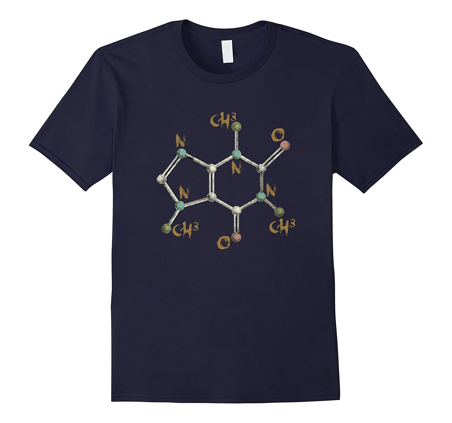 Caffeine Molecule Tshirt Molecular Formula Science of Coffee-TD