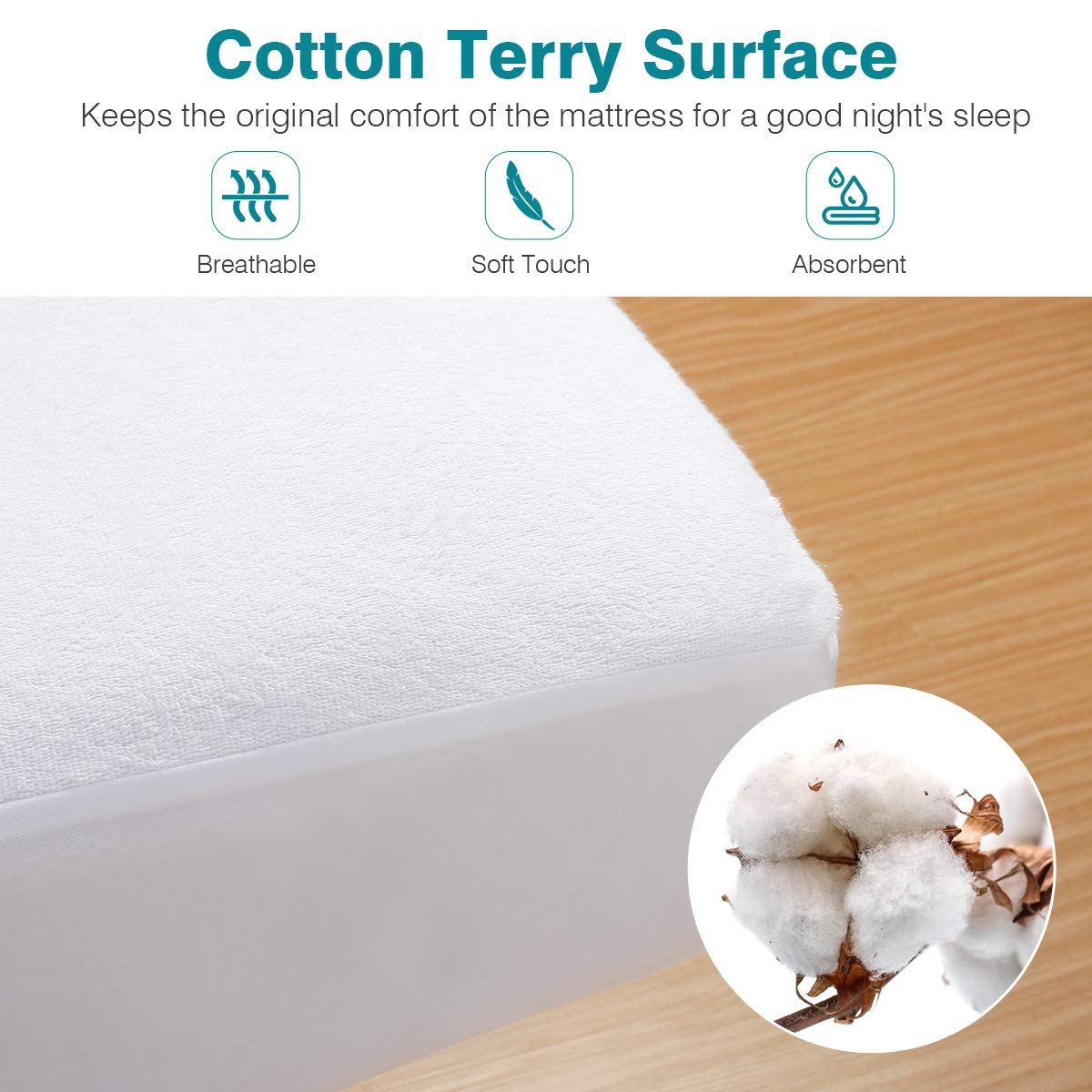 Docamor 100% Waterproof Mattress Protector, Hypoallergenic Mattress Cover with Premium Cotton Terry Surface - Vinyl Free - King Size - 3 Year Warranty by Docamor (Image #4)