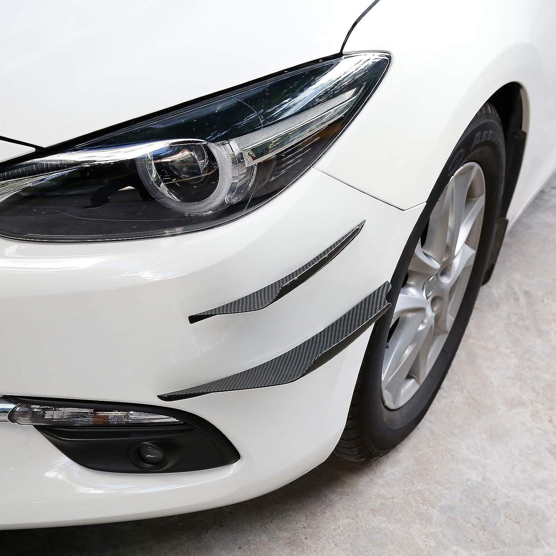 X AUTOHAUX 4pcs Exterior Front Bumper Lip Splitter Fins Spoiler Trim Universal Carbon Fiber Pattern ABS for Car Truck