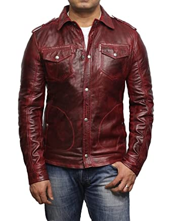 a979d07aae80 Brandslock Veste de motard en cuir pour homme délavé rétro Vintage Slim Fit  Shirt Jacket (