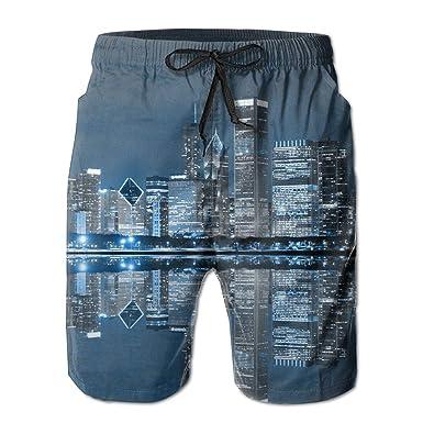 2c3ce1beab KJDS Mens Beautiful City Night View Quick Dry Swim Trunks Beach Shorts Pants  with Mesh Lining