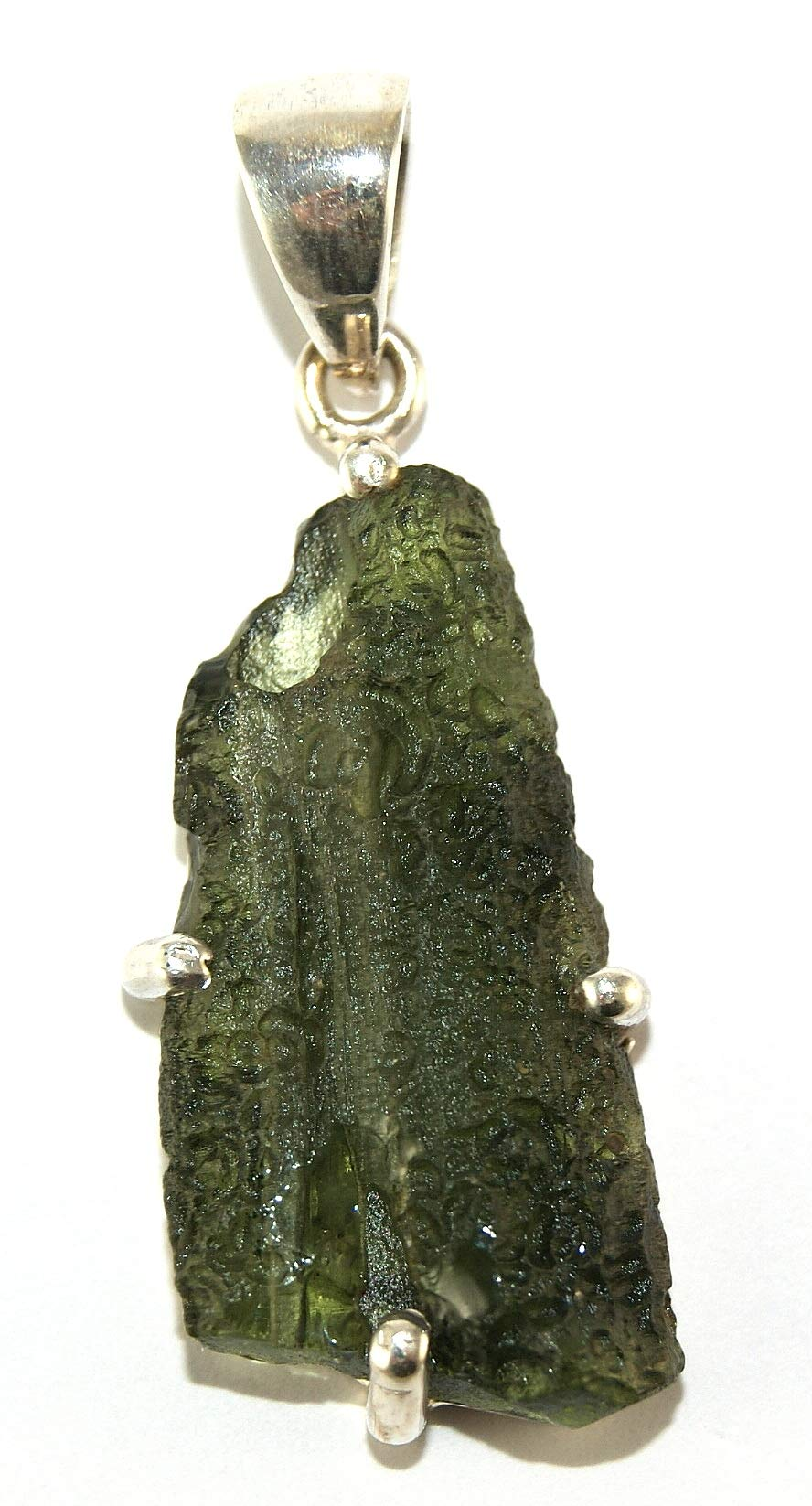 Moldavite Sterling Silver Pendant Raw Natural Crystal MOLDP1806