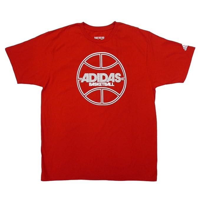 fa0029ba1012 Amazon.com  Adidas Mens Red Basketball T-Shirt Athletic Shirt X ...