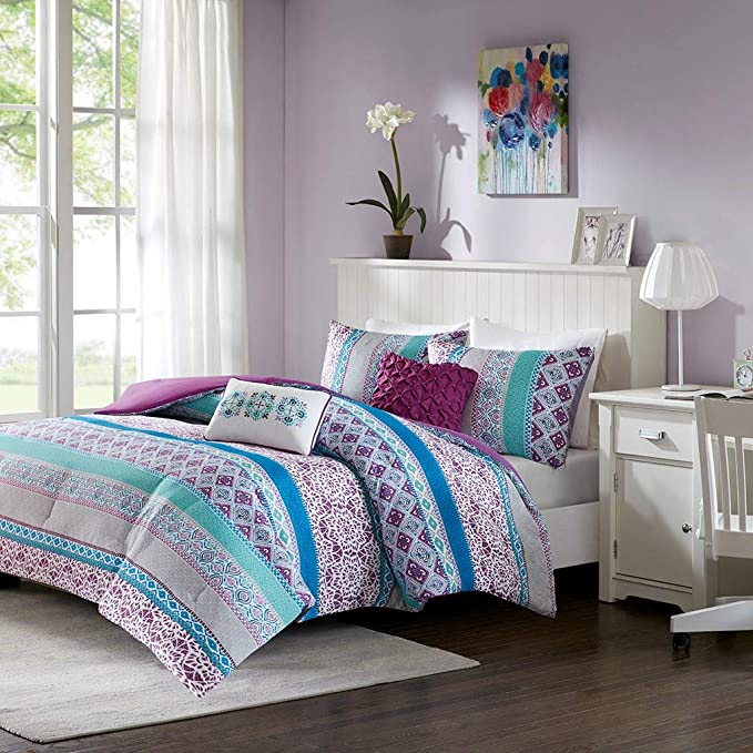 Review Intelligent Design Joni Comforter Set Full/Queen Size - Purple, Blue, Bohemian Pattern – 5 Piece Bed Sets – Ultra Soft Microfiber Teen Bedding for Girls Bedroom