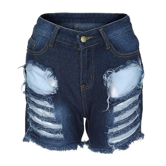 Cinnamou_mujer Pantalones Cortas Mujer Vaqueros Rotos De ...