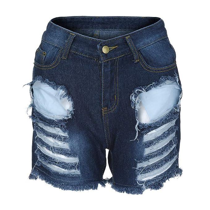 af3be862c Cinnamou mujer Pantalones Cortas Mujer Vaqueros Rotos De Cintura Alta con  Flecos Casual Ringered Hot Jeans Denim Shorts  Amazon.es  Ropa y accesorios