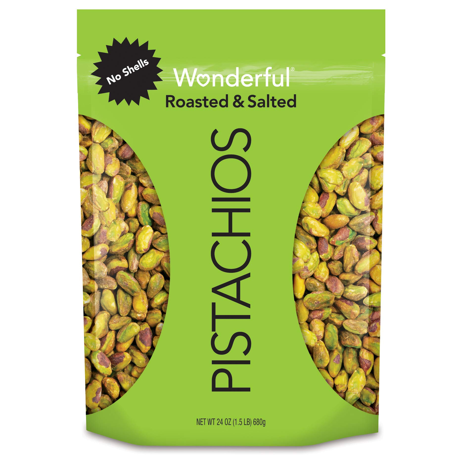 Wonderful Pistachios, No-Shell, Roasted and Salted, 24 Ounce Resealable Bag by Wonderful
