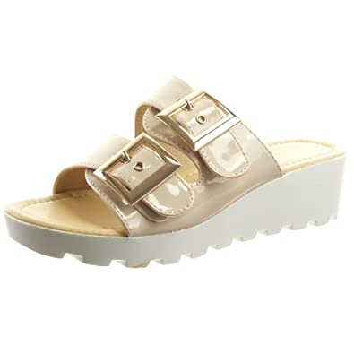 Sopily - damen Mode Schuhe Sandalen Offen glänzende Schleife - Beige  CM-F-109