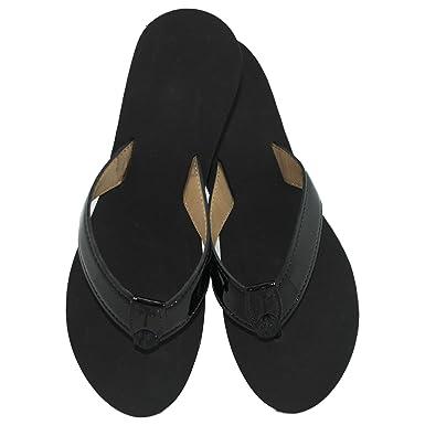 dc7ecd2debfb Eliza B Black Patent Feather Edge Sandal with Black Wedge Sole (6 M US Women