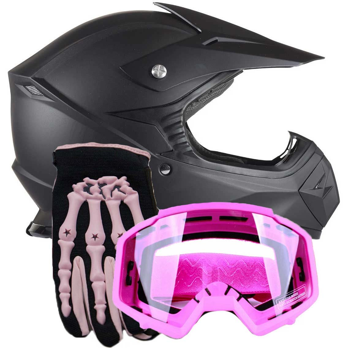 Youth Kids Offroad Helmet Gloves Goggles GEAR COMBO Motocross ATV Dirt Bike Motorcycle Pink Matte Black M Medium