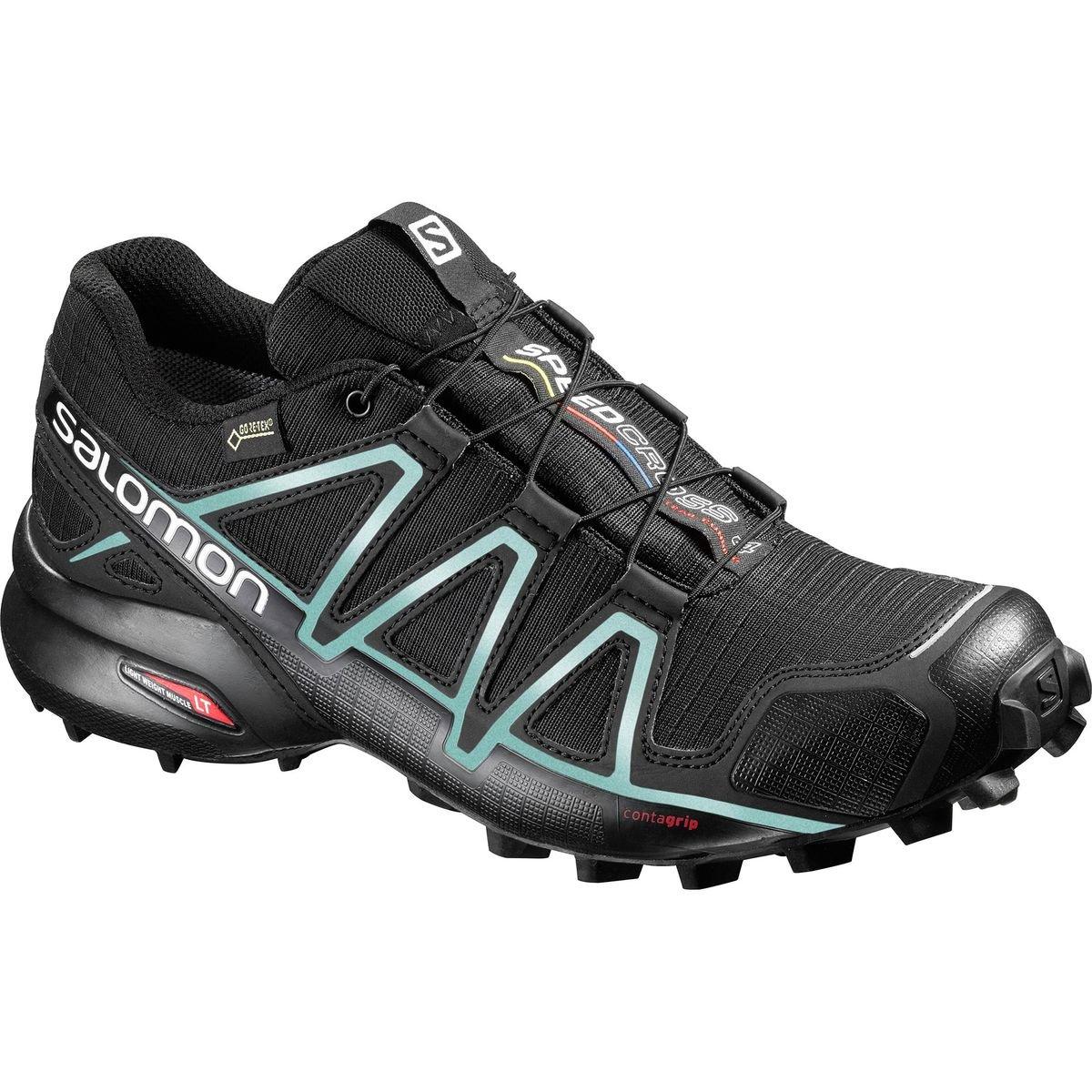 SALOMON Women's Speedcross 4 GTX Trail Running Shoes, Black/Black/Metallic Bubble Blue, 8 by SALOMON