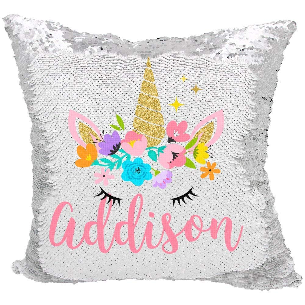 YUUNITY Personalized Mermaid Reversible Sequin Pillow, Custom Unicorn Sequin Pillow for Girls(White/Silver) by YUUNITY