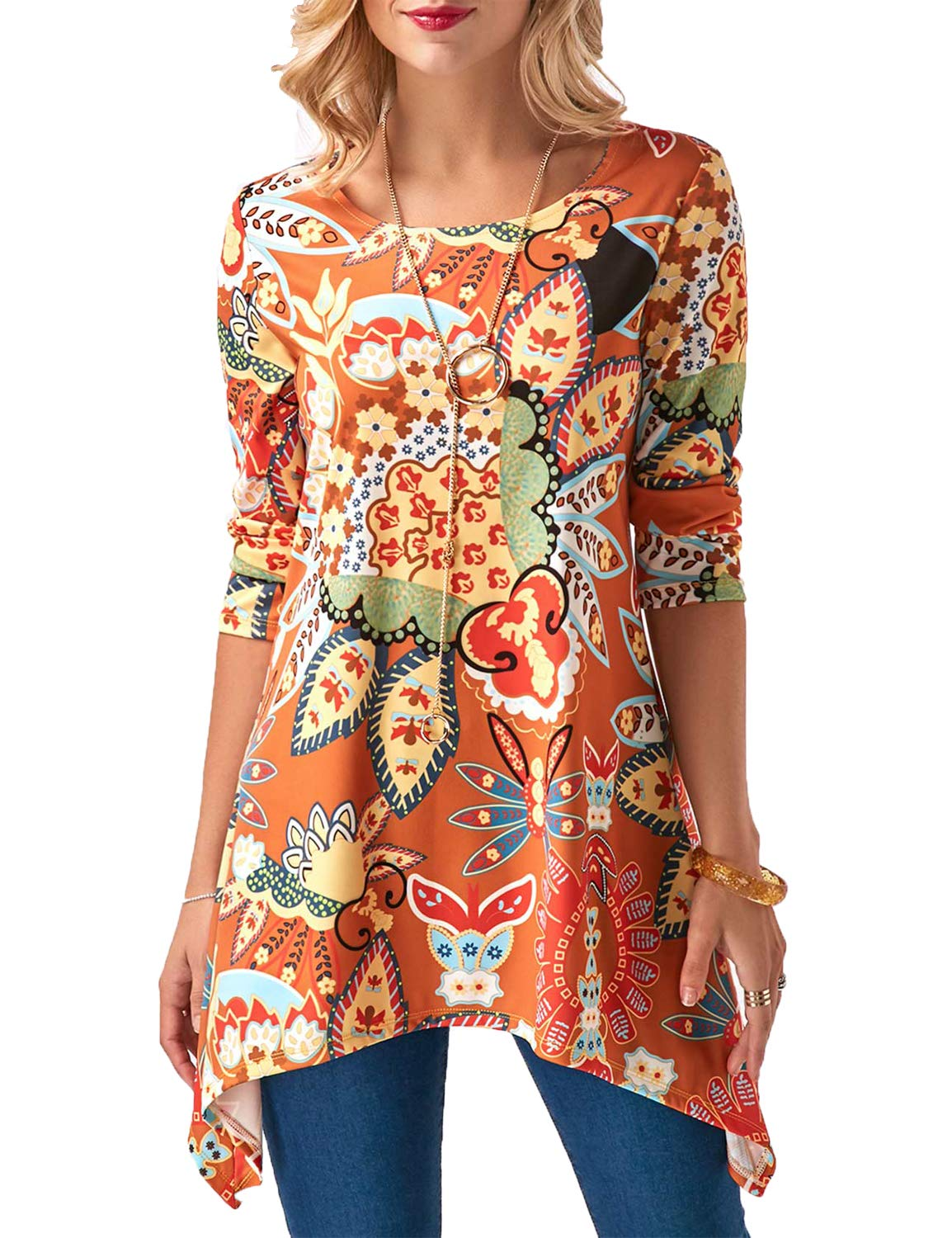 Sweetnight Womens Asymmetrical Casual T Shirt 3/4 Sleeve Floral Print Swing Tunic Tops (Orange, L)