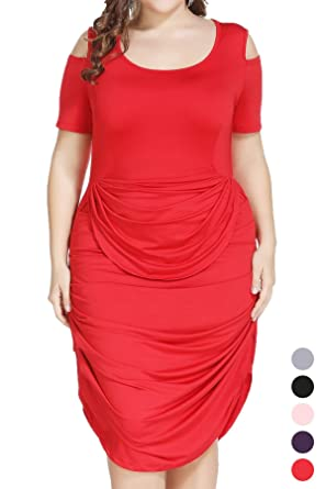 Plus Size Half Sleeve Draped Ruched Midi Dress For Cocktail Formal