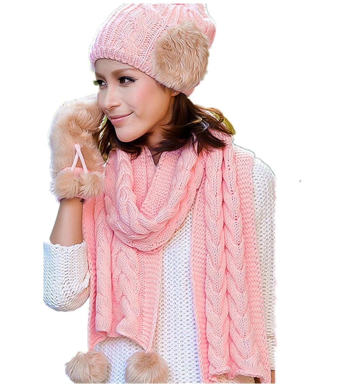 Frauen Winter Plus Samt warme M¨¹tze / Schal / Handschuhe dreiteilige von Withered eingestellt