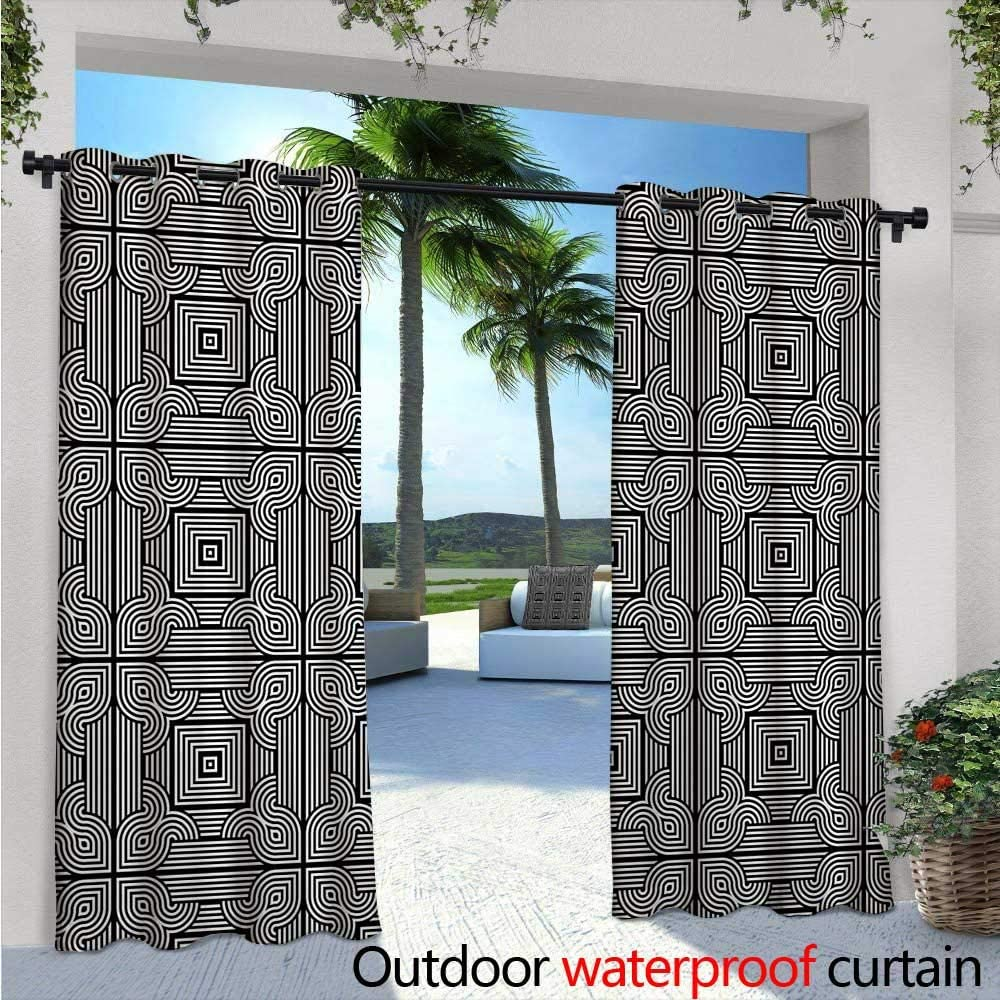 Cortina de privacidad para exteriores contemporánea, diseño monocromo con curvas y formas de diamante, diseño Op Art para porche delantero cubierto patio cenador Dock Beach Home W108